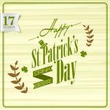Affisch- eller banerdesign för lyckliga Sts Patrick dag Arkivbild