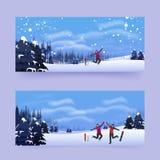 Affisch- eller banerdesign med tecknad filmteckenet av mannen som har gyckel på vinterlandskapbakgrund som åker skridskor det bas royaltyfri illustrationer