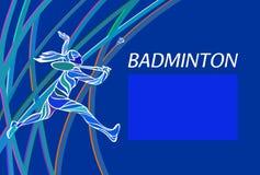 Affisch eller reklamblad för badmintonsportinbjudan Royaltyfri Bild