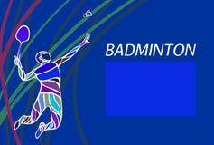 Affisch eller reklamblad för badmintonsportinbjudan Royaltyfri Fotografi