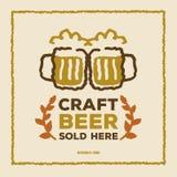 Affisch för öl för tappningstilhantverk Stock Illustrationer