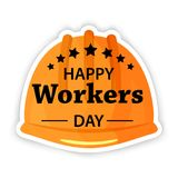 Affisch för arbets- dag Internationella arbetare dag eller symbol för lägenhet för hjälm för säkerhet för Maj dag royaltyfri illustrationer