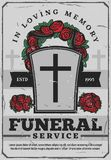 Affisch för begravnings- service med gravstenen och kransen vektor illustrationer