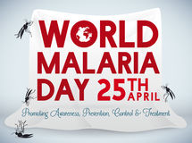 Affisch för beröm för världsmalariadag med myggnät, vektorillustration Arkivfoto