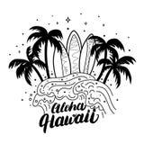 Affisch för bränning för Aloha Hawaii handbokstäver, utslagsplatstryck Arkivfoto