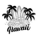 Affisch för bränning för Hawaii handbokstäver, utslagsplatstryck fotografering för bildbyråer