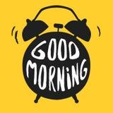 Affisch för bra morgon med ringklockan också vektor för coreldrawillustration Kalligrafistil royaltyfri illustrationer