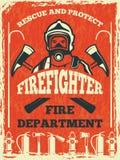 Affisch för brandmanavdelning Designmall i retro stil stock illustrationer