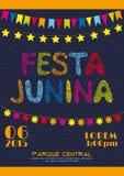 Affisch för Brasilien juni partiinbjudan Arkivbilder