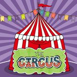 Affisch för cirkustält royaltyfri illustrationer