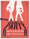 Affisch för dansparti med två dansa händer Tappning utformad vektorillustration royaltyfri illustrationer
