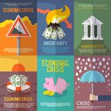 Affisch för ekonomisk kris Arkivfoto