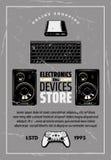 Affisch för elektronik och retro för vektor för apparatlager royaltyfri illustrationer