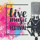Affisch för en festival för levande musik med en mikrofon Royaltyfria Bilder