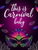 Affisch för en karneval med en ljus kvinnlig maskering royaltyfri illustrationer