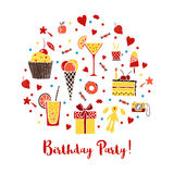 Affisch för födelsedagparti Royaltyfria Bilder