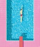 affisch för ferie för 80-talstilsommar med simmaren i simbassäng Sliten tegelplatta- och vattentextur för rosa grunge royaltyfri illustrationer