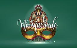 Affisch för ferie för Mardi grasmaskerad med den guld- maskeringen vektor illustrationer
