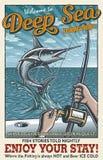 Affisch för fiske för djupt hav för tappning Arkivfoton