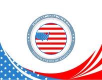 Affisch för fjärdedel av Juli, självständighetsdagen av Amerikas förenta stater USA-flagga och översikt i cirkeln och USA översik royaltyfri bild
