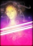 Affisch för flicka för Techno stilparti Royaltyfri Bild