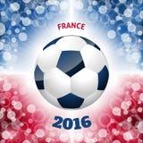 Affisch för fotbollboll med den franska flaggan som bakgrund Royaltyfri Bild
