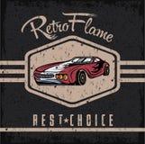 affisch för grunge för tappning för sportbil gammal Royaltyfri Bild