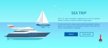 Affisch för havsturannonsering med det nautiska fartyget vektor illustrationer