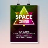 Affisch för husdansmusik Design för baner för musikpartireklamblad Mall för diskonattklubbhändelse Arkivbilder