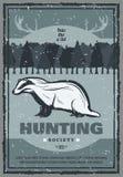 Affisch för jakt för vektortappningbäverskinn royaltyfri illustrationer