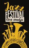 Affisch för jazzfestival med blåsinstrument och mic Royaltyfri Foto