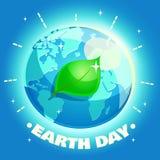 Affisch för jorddag Begrepp för Eco vänligt ekologidesign med en planet och ett blad Royaltyfri Fotografi