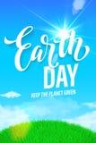 Affisch för jorddag Vektorillustration av den gröna planetecoen Royaltyfri Fotografi