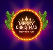 Affisch för julparti med det retro ljusa ramtecknet För partixmas för neon retro mall för baner stock illustrationer
