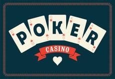 Affisch för kasinotappningstil En kunglig spolning som spelar kortpoker retro vektor för illustration royaltyfri illustrationer