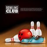 Affisch för klubba för bowlingliga inomhus Arkivbild