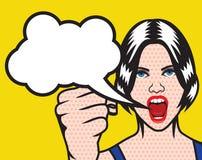 Affisch för konst för kvinnarättpop med molnanförande stock illustrationer
