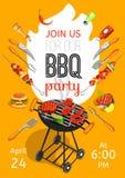 Affisch för lägenhet för BBQ-partimeddelande vektor illustrationer