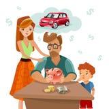 Affisch för lägenhet för plan för finans för familjbudget vektor illustrationer