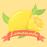 Affisch för lemonadfruktdesign med det röda banret Fotografering för Bildbyråer