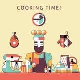 Affisch för matlagningtid stock illustrationer