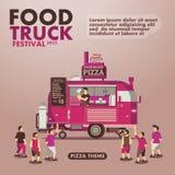 Affisch för matlastbilfestival med gourmet, pizzatema Royaltyfri Foto