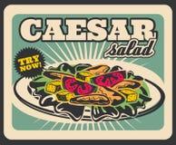 Affisch för meny för restaurang för fastfood för Caesar sallad retro royaltyfri illustrationer