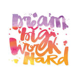 Affisch för motivation för bokstäver för hand för begrepp för ` för dröm- stort arbete för ` hård stock illustrationer