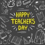 Affisch för nationell dag för lärare` s greeting lyckligt nytt år för 2007 kort Vektorillustration på svart tavla stock illustrationer