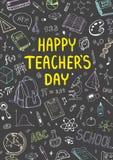 Affisch för nationell dag för lärare` s med trevlig doddledesign Vertikal vektorillustration på en svart tavla vektor illustrationer