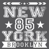 Affisch för New York City retro tappningtypografi, t-skjorta printingdesign, etikett för vektoremblemApplique Arkivbild
