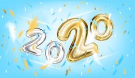 Affisch för nytt år 2020 i himmelblått royaltyfri illustrationer