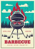 Affisch för parti för tappningbbq-galler Läckra grillade hamburgare, kort för inbjudan för familjgrillfestvektor royaltyfri illustrationer