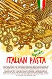 Affisch för pasta- och italienaremakaronivektor stock illustrationer